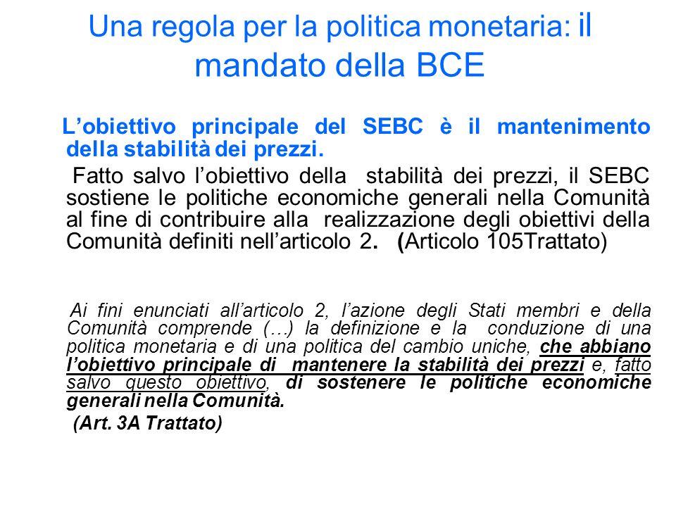 Una regola per la politica monetaria: il mandato della BCE Lobiettivo principale del SEBC è il mantenimento della stabilità dei prezzi.