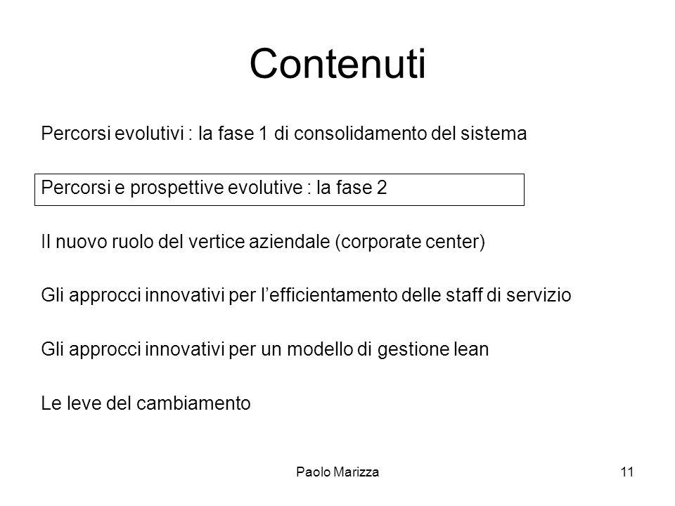 Paolo Marizza11 Contenuti Percorsi evolutivi : la fase 1 di consolidamento del sistema Percorsi e prospettive evolutive : la fase 2 Il nuovo ruolo del