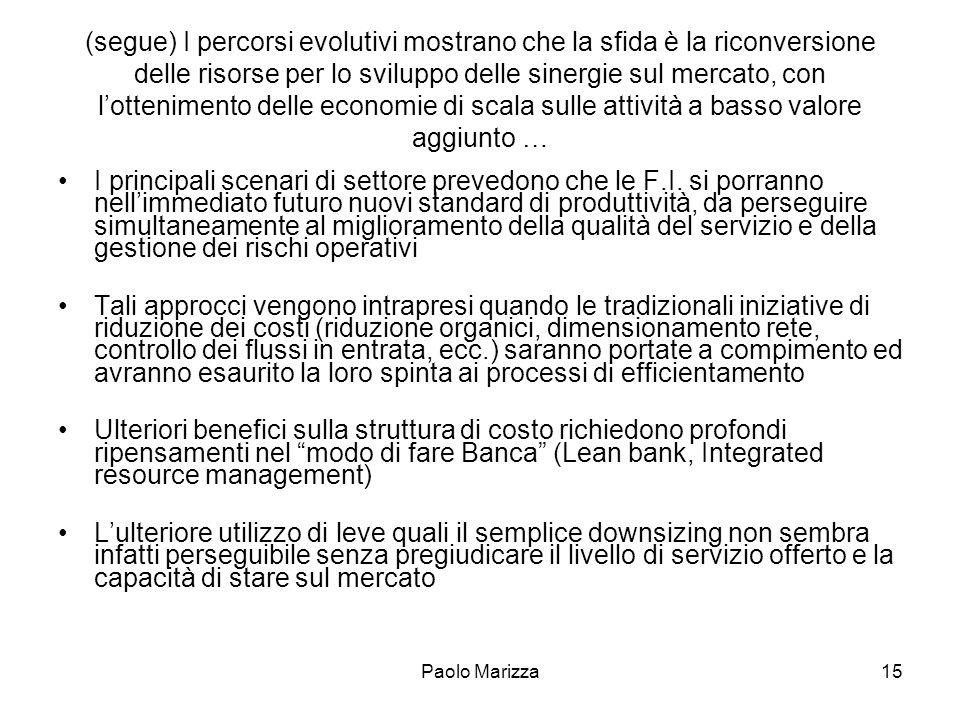 Paolo Marizza15 (segue) I percorsi evolutivi mostrano che la sfida è la riconversione delle risorse per lo sviluppo delle sinergie sul mercato, con lo
