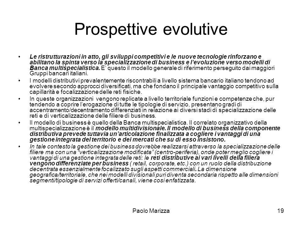 Paolo Marizza19 Prospettive evolutive Le ristrutturazioni in atto, gli sviluppi competitivi e le nuove tecnologie rinforzano e abilitano la spinta ver