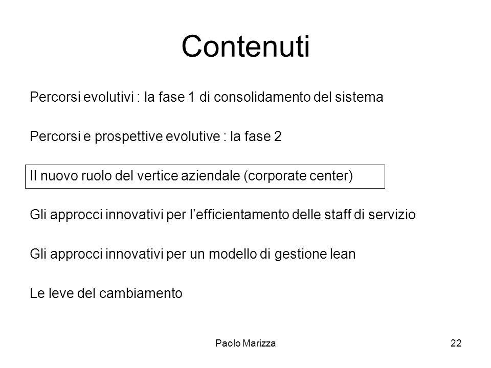 Paolo Marizza22 Contenuti Percorsi evolutivi : la fase 1 di consolidamento del sistema Percorsi e prospettive evolutive : la fase 2 Il nuovo ruolo del