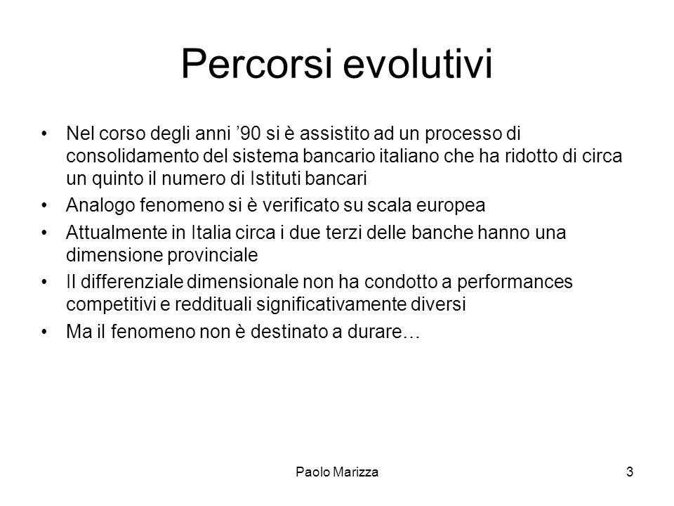 Paolo Marizza3 Percorsi evolutivi Nel corso degli anni 90 si è assistito ad un processo di consolidamento del sistema bancario italiano che ha ridotto