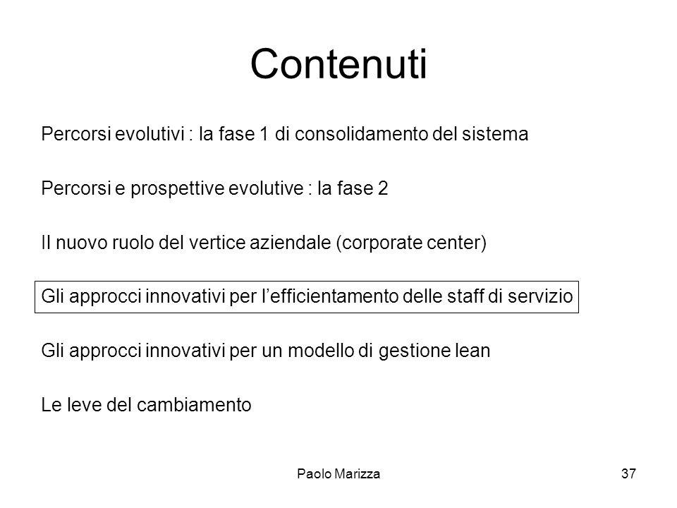Paolo Marizza37 Contenuti Percorsi evolutivi : la fase 1 di consolidamento del sistema Percorsi e prospettive evolutive : la fase 2 Il nuovo ruolo del