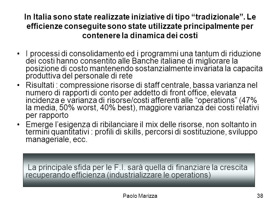 Paolo Marizza38 In Italia sono state realizzate iniziative di tipo tradizionale. Le efficienze conseguite sono state utilizzate principalmente per con