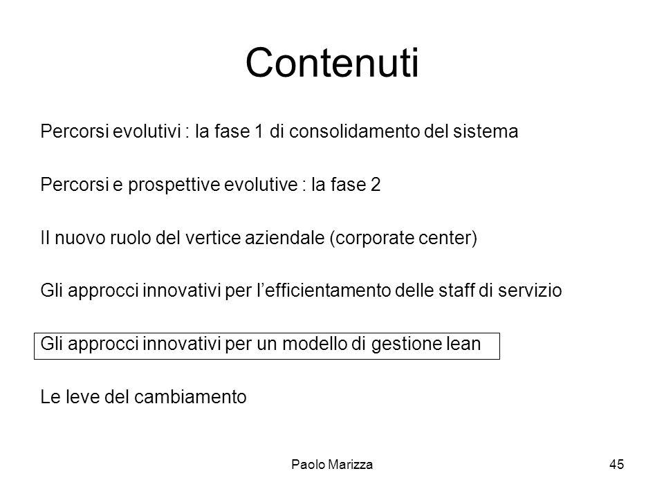 Paolo Marizza45 Contenuti Percorsi evolutivi : la fase 1 di consolidamento del sistema Percorsi e prospettive evolutive : la fase 2 Il nuovo ruolo del