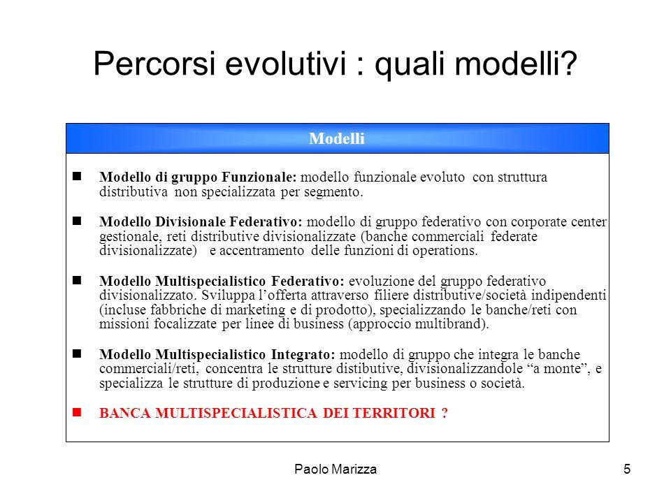 Paolo Marizza6 Percorsi evolutivi : i trade off organizzativo gestionali Integrazione Autonomia Anni 85-90 Anni 90-00 Oggi ?