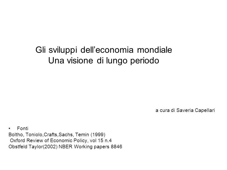 Gli sviluppi delleconomia mondiale Una visione di lungo periodo a cura di Saveria Capellari Fonti Boltho, Toniolo,Crafts,Sachs, Temin (1999) Oxford Review of Economic Policy, vol 15 n.4 Obstfeld Taylor(2002) NBER Working papers 8846