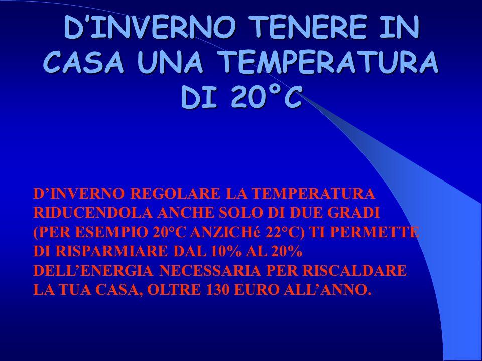 DINVERNO TENERE IN CASA UNA TEMPERATURA DI 20°C DINVERNO REGOLARE LA TEMPERATURA RIDUCENDOLA ANCHE SOLO DI DUE GRADI (PER ESEMPIO 20°C ANZICHé 22°C) TI PERMETTE DI RISPARMIARE DAL 10% AL 20% DELLENERGIA NECESSARIA PER RISCALDARE LA TUA CASA, OLTRE 130 EURO ALLANNO.