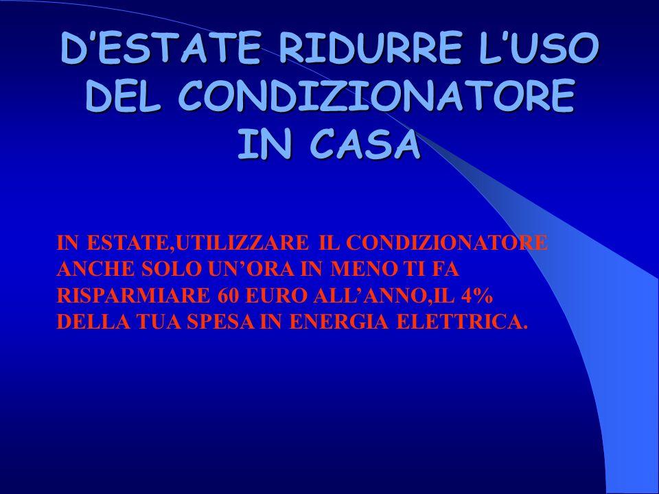DESTATE RIDURRE LUSO DEL CONDIZIONATORE IN CASA IN ESTATE,UTILIZZARE IL CONDIZIONATORE ANCHE SOLO UNORA IN MENO TI FA RISPARMIARE 60 EURO ALLANNO,IL 4% DELLA TUA SPESA IN ENERGIA ELETTRICA.