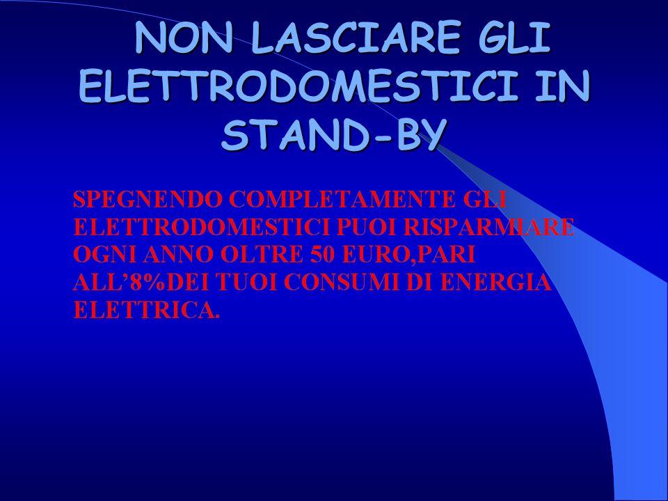 NON LASCIARE GLI ELETTRODOMESTICI IN STAND-BY NON LASCIARE GLI ELETTRODOMESTICI IN STAND-BY