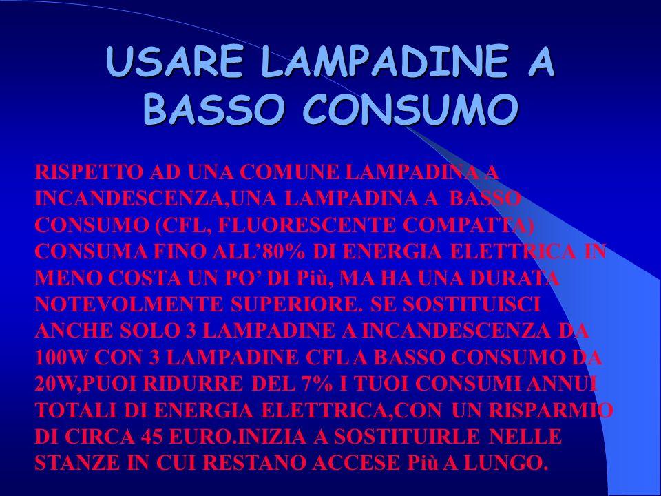 USARE LAMPADINE A BASSO CONSUMO RISPETTO AD UNA COMUNE LAMPADINA A INCANDESCENZA,UNA LAMPADINA A BASSO CONSUMO (CFL, FLUORESCENTE COMPATTA) CONSUMA FINO ALL80% DI ENERGIA ELETTRICA IN MENO COSTA UN PO DI Più, MA HA UNA DURATA NOTEVOLMENTE SUPERIORE.