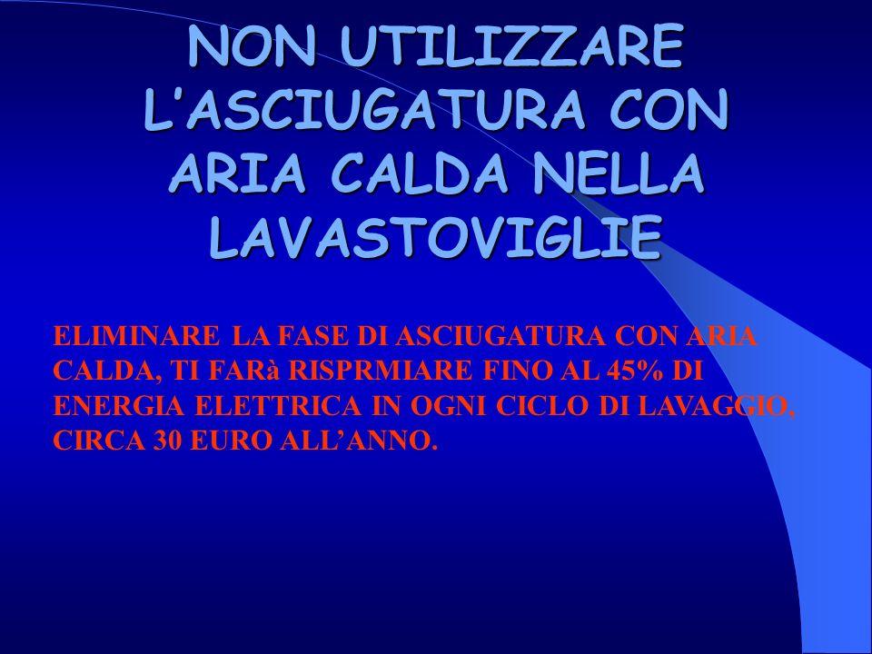 NON UTILIZZARE LASCIUGATURA CON ARIA CALDA NELLA LAVASTOVIGLIE ELIMINARE LA FASE DI ASCIUGATURA CON ARIA CALDA, TI FARà RISPRMIARE FINO AL 45% DI ENERGIA ELETTRICA IN OGNI CICLO DI LAVAGGIO, CIRCA 30 EURO ALLANNO.