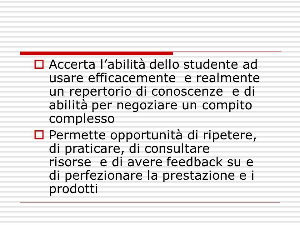 Accerta labilità dello studente ad usare efficacemente e realmente un repertorio di conoscenze e di abilità per negoziare un compito complesso Permett