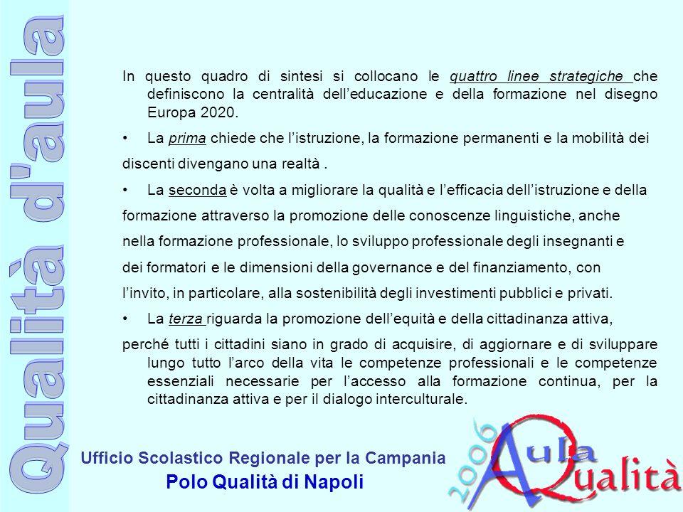 Ufficio Scolastico Regionale per la Campania Polo Qualità di Napoli In questo quadro di sintesi si collocano le quattro linee strategiche che definiscono la centralità delleducazione e della formazione nel disegno Europa 2020.