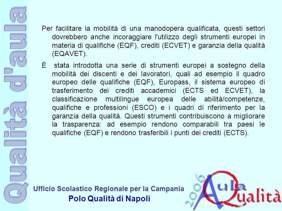 Ufficio Scolastico Regionale per la Campania Polo Qualità di Napoli La strategia europea di sviluppo della mobilità Nel 2003 un Gruppo di Coordinamento della Commissione dettava alcune importanti linee di lavoro: Migliorare la trasparenza e la portabilità delle certificazioni (Decisione Europass, 2004) Generare un single framework europeo a cui referenziare le qualificazioni (Raccomandazione EQF, 2008) Sviluppare un sistema di crediti europeo per il sistema VET (Raccomandazione ECVET, 2009) Definire criteri comuni per il miglioramento della qualità dellofferta (Raccomandazione EQARF, 2009) Valorizzare gli apprendimenti informali e non formali (proposta di Raccomandazione del Consiglio europeo, sulla convalida dellapprendimento non formale e informale, 5 settembre 2012)