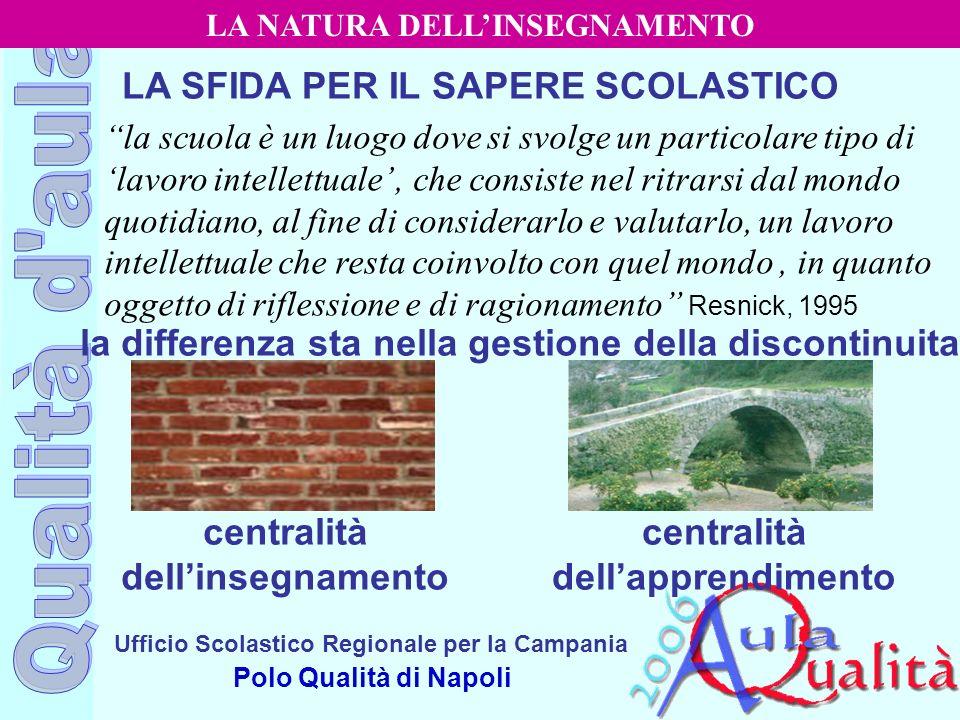 Ufficio Scolastico Regionale per la Campania Polo Qualità di Napoli LA SFIDA PER IL SAPERE SCOLASTICO la scuola è un luogo dove si svolge un particola