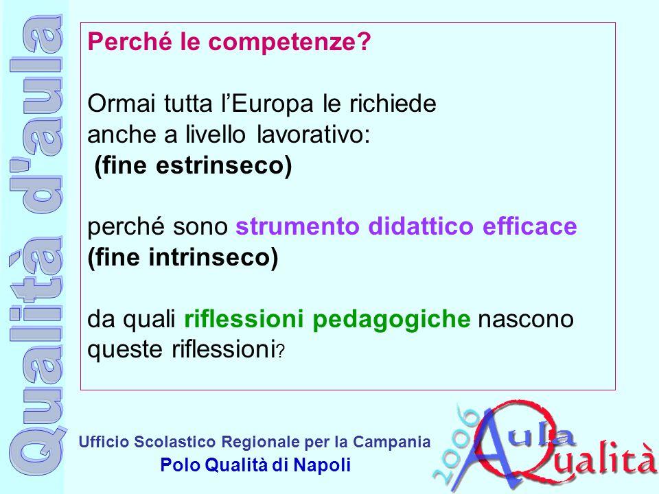 Ufficio Scolastico Regionale per la Campania Polo Qualità di Napoli Perché le competenze? Ormai tutta lEuropa le richiede anche a livello lavorativo: