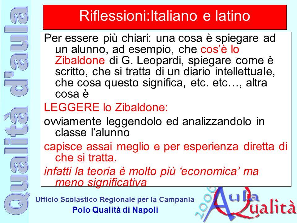Ufficio Scolastico Regionale per la Campania Polo Qualità di Napoli Riflessioni:Italiano e latino Per essere più chiari: una cosa è spiegare ad un alu