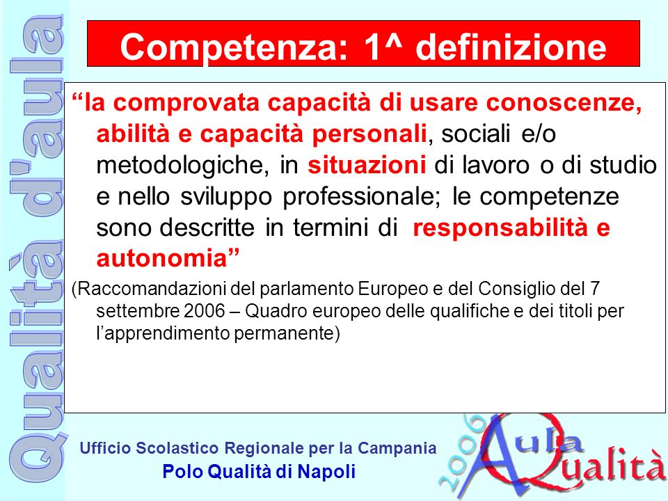 Ufficio Scolastico Regionale per la Campania Polo Qualità di Napoli la comprovata capacità di usare conoscenze, abilità e capacità personali, sociali