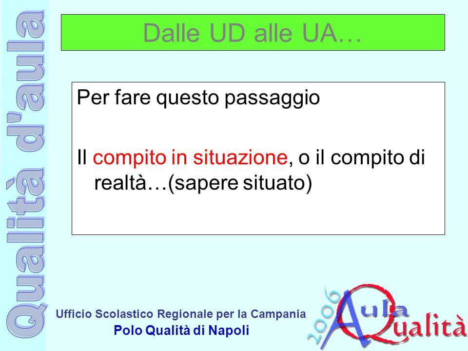 Ufficio Scolastico Regionale per la Campania Polo Qualità di Napoli Dalle UD alle UA… Per fare questo passaggio Il compito in situazione, o il compito