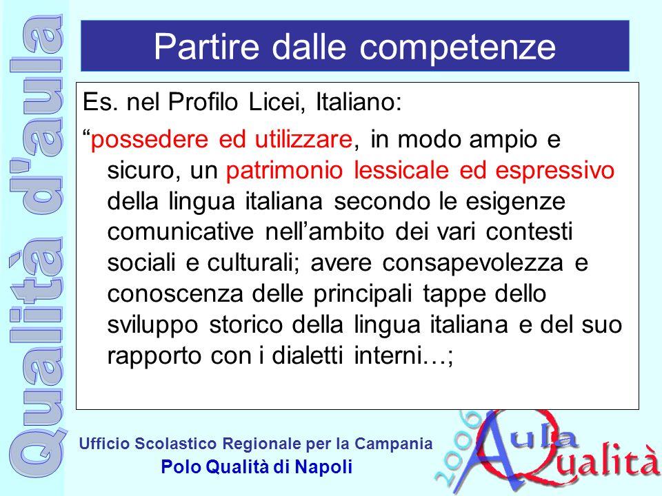 Ufficio Scolastico Regionale per la Campania Polo Qualità di Napoli Partire dalle competenze Es. nel Profilo Licei, Italiano: possedere ed utilizzare,