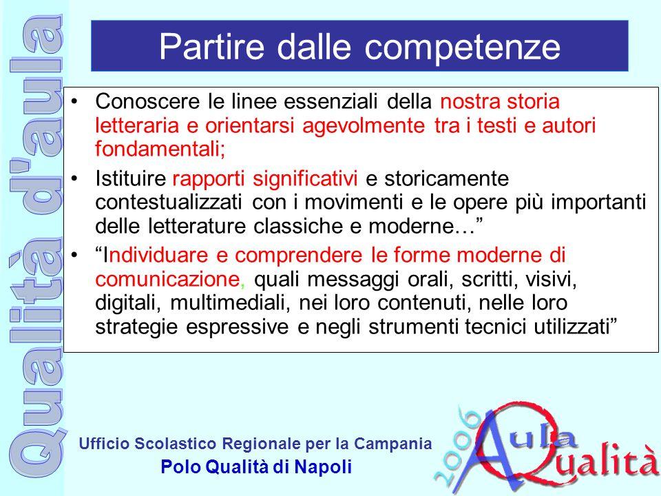 Ufficio Scolastico Regionale per la Campania Polo Qualità di Napoli Partire dalle competenze Conoscere le linee essenziali della nostra storia lettera