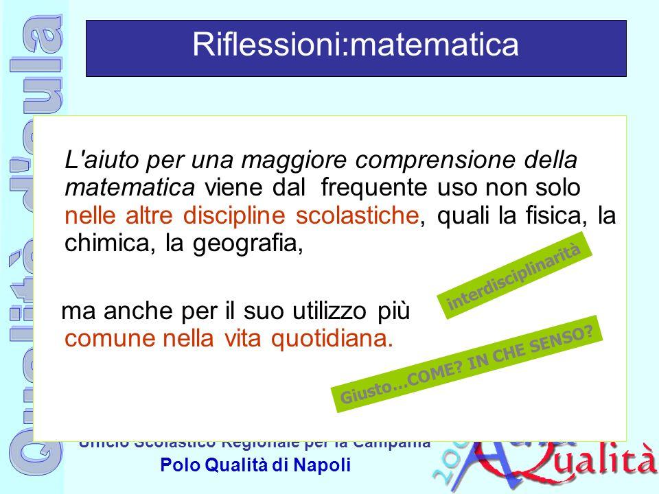 Ufficio Scolastico Regionale per la Campania Polo Qualità di Napoli Riflessioni:matematica L'aiuto per una maggiore comprensione della matematica vien