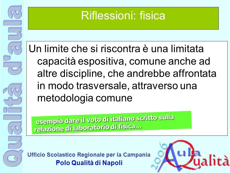 Ufficio Scolastico Regionale per la Campania Polo Qualità di Napoli Riflessioni: fisica Un limite che si riscontra è una limitata capacità espositiva,