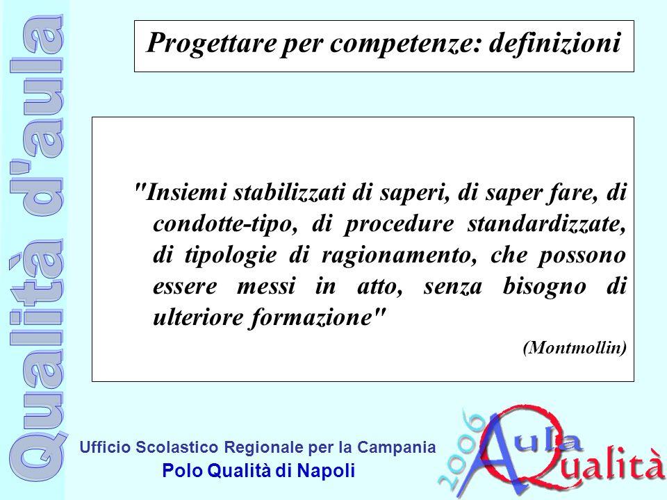 Ufficio Scolastico Regionale per la Campania Polo Qualità di Napoli Progettare per competenze: definizioni