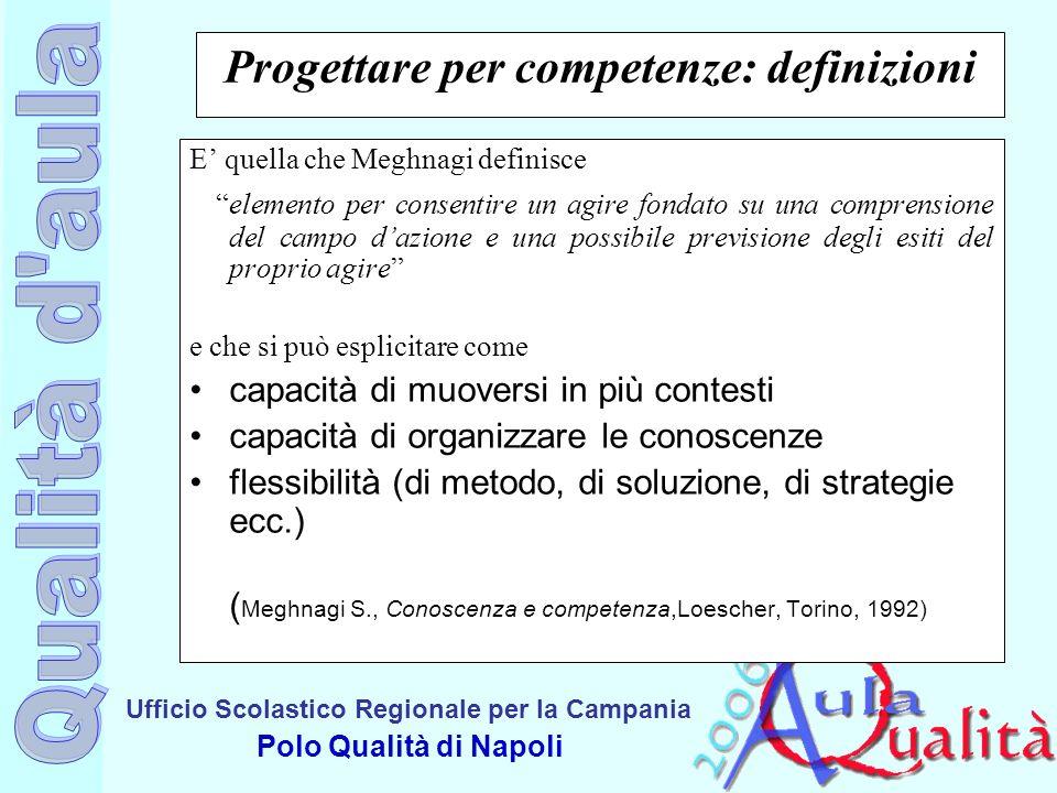 Ufficio Scolastico Regionale per la Campania Polo Qualità di Napoli Progettare per competenze: definizioni E quella che Meghnagi definisce elemento pe