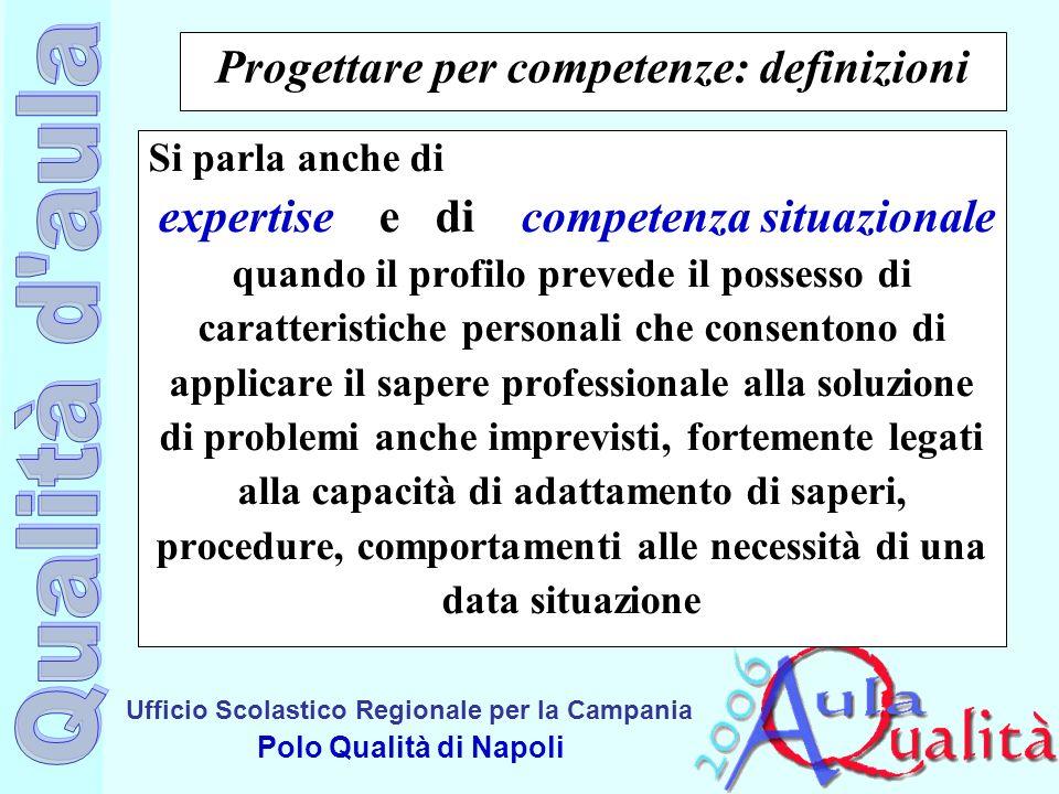 Ufficio Scolastico Regionale per la Campania Polo Qualità di Napoli Progettare per competenze: definizioni Si parla anche di expertise e di competenza