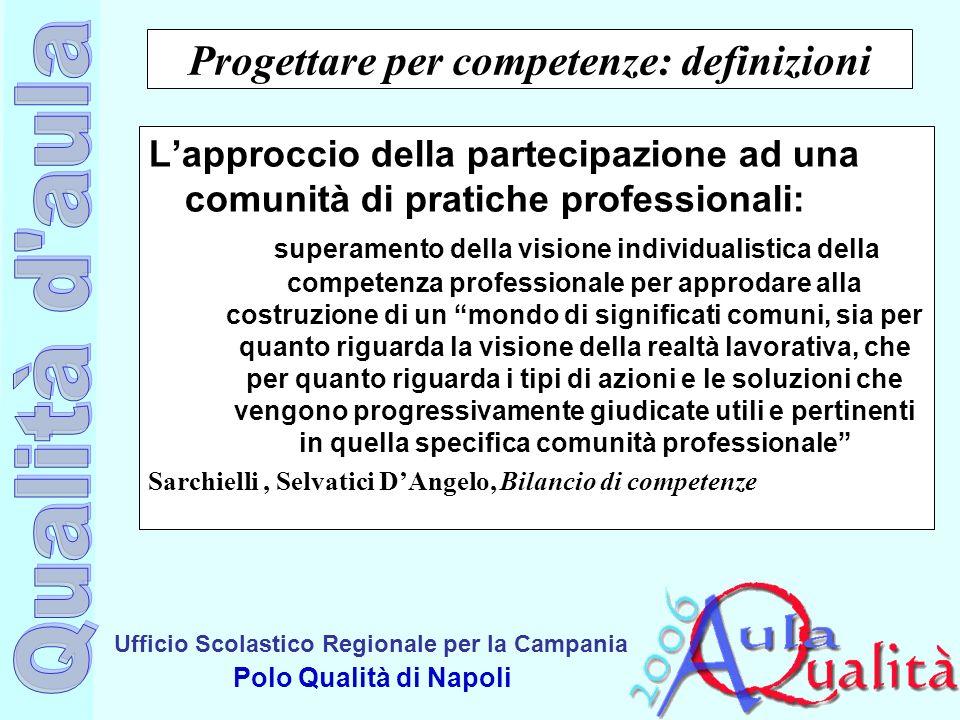 Ufficio Scolastico Regionale per la Campania Polo Qualità di Napoli Progettare per competenze: definizioni Lapproccio della partecipazione ad una comu