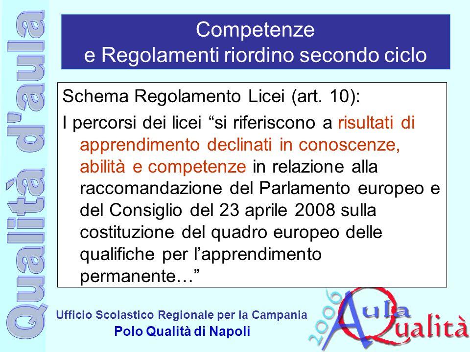 Ufficio Scolastico Regionale per la Campania Polo Qualità di Napoli Competenze e Regolamenti riordino secondo ciclo Schema Regolamento Licei (art. 10)
