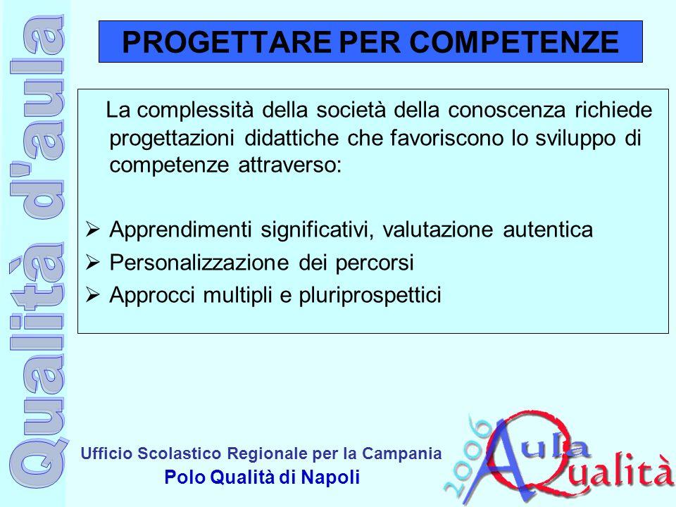 Ufficio Scolastico Regionale per la Campania Polo Qualità di Napoli PROGETTARE PER COMPETENZE La complessità della società della conoscenza richiede p