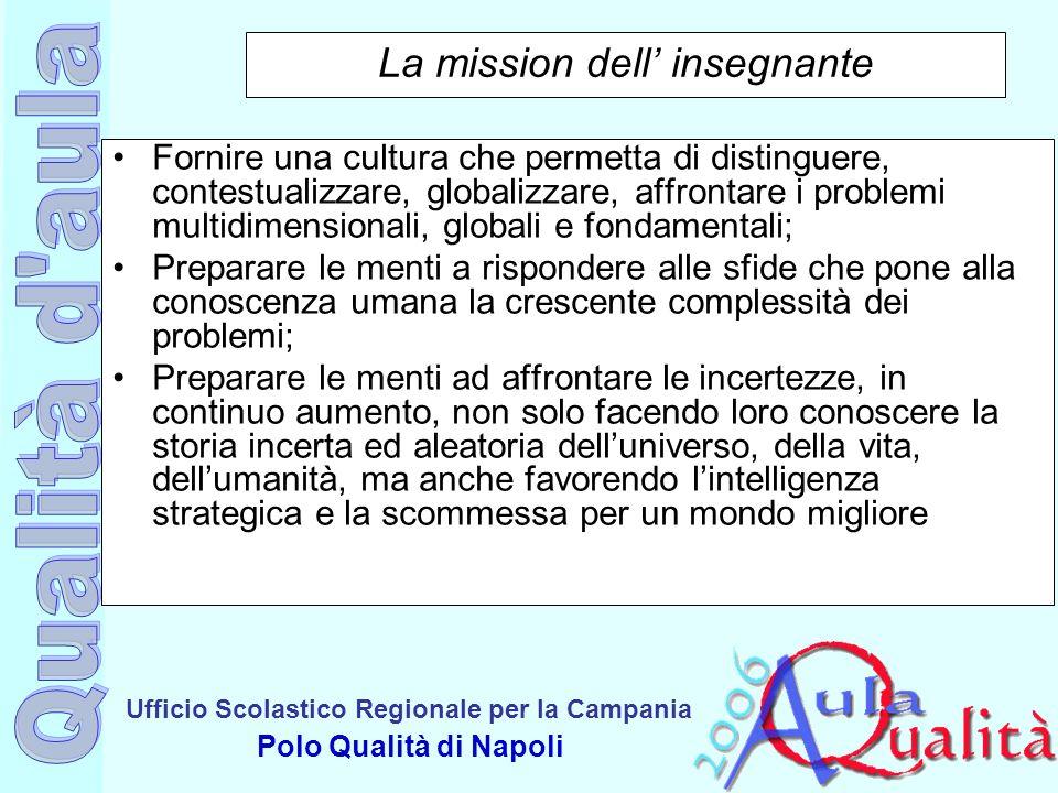 Ufficio Scolastico Regionale per la Campania Polo Qualità di Napoli La mission dell insegnante Fornire una cultura che permetta di distinguere, contes