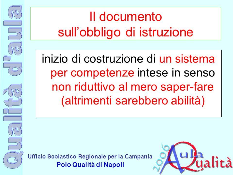 Ufficio Scolastico Regionale per la Campania Polo Qualità di Napoli Il documento sullobbligo di istruzione inizio di costruzione di un sistema per com