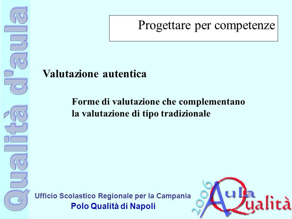Ufficio Scolastico Regionale per la Campania Polo Qualità di Napoli Progettare per competenze Valutazione autentica Forme di valutazione che complemen