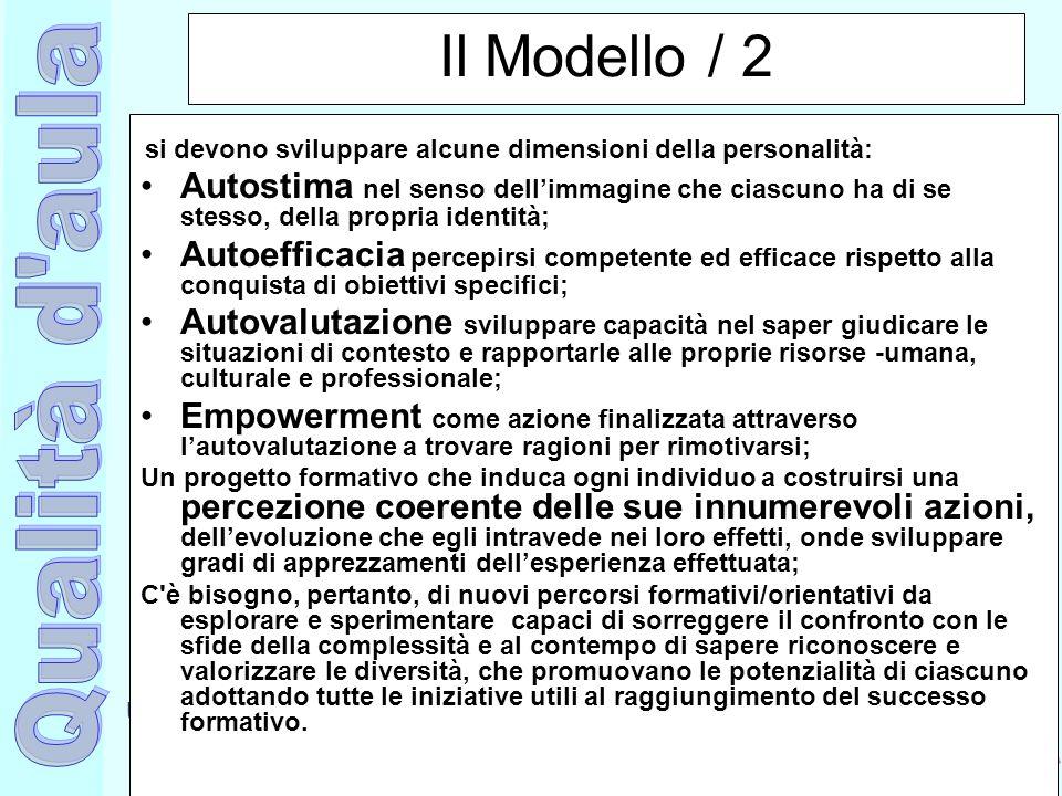Ufficio Scolastico Regionale per la Campania Polo Qualità di Napoli Il Modello / 2 si devono sviluppare alcune dimensioni della personalità: Autostima