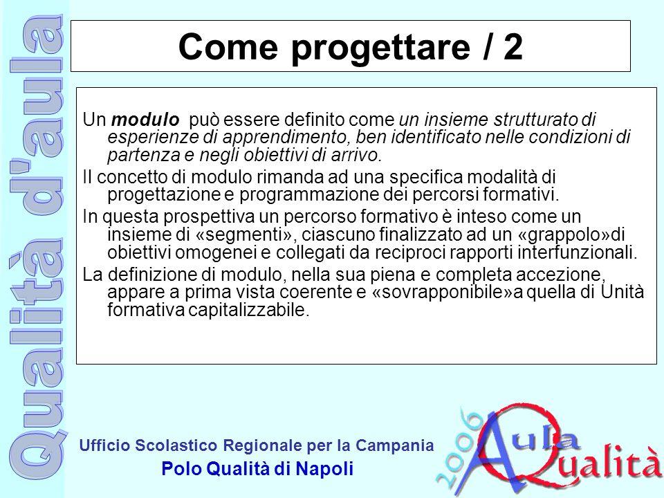 Ufficio Scolastico Regionale per la Campania Polo Qualità di Napoli Come progettare / 2 Un modulo può essere definito come un insieme strutturato di e