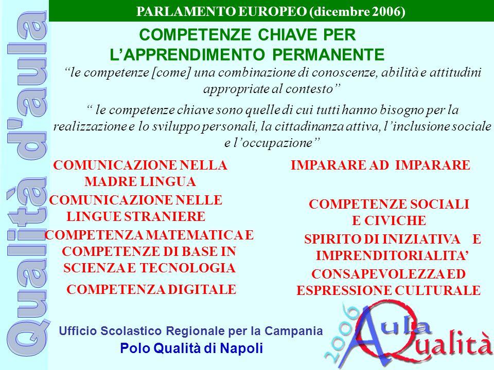 Ufficio Scolastico Regionale per la Campania Polo Qualità di Napoli COMPETENZE CHIAVE PER LAPPRENDIMENTO PERMANENTE PARLAMENTO EUROPEO (dicembre 2006)