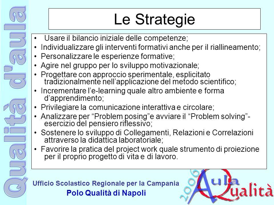 Ufficio Scolastico Regionale per la Campania Polo Qualità di Napoli Le Strategie Usare il bilancio iniziale delle competenze; Individualizzare gli int