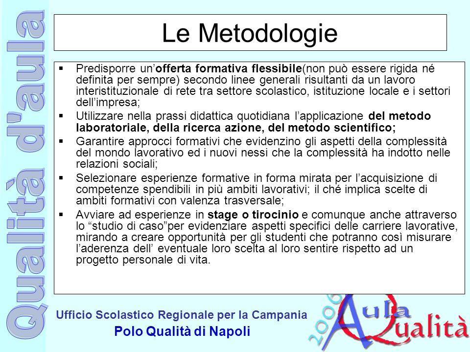 Ufficio Scolastico Regionale per la Campania Polo Qualità di Napoli Le Metodologie Predisporre unofferta formativa flessibile(non può essere rigida né