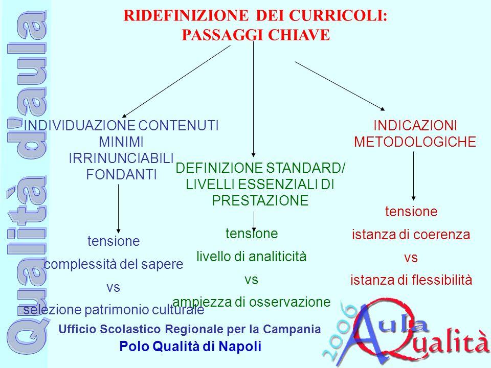 Ufficio Scolastico Regionale per la Campania Polo Qualità di Napoli RIDEFINIZIONE DEI CURRICOLI: PASSAGGI CHIAVE INDIVIDUAZIONE CONTENUTI MINIMI IRRIN