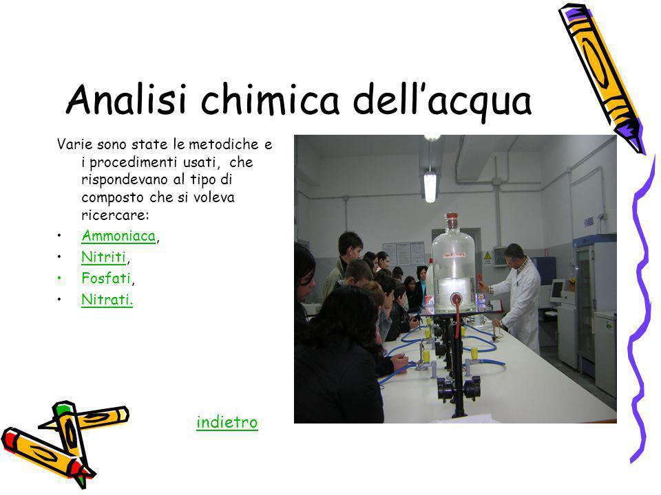 Analisi chimica dellacqua Varie sono state le metodiche e i procedimenti usati, che rispondevano al tipo di composto che si voleva ricercare: Ammoniac