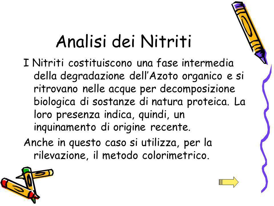 Analisi dei Nitriti I Nitriti costituiscono una fase intermedia della degradazione dellAzoto organico e si ritrovano nelle acque per decomposizione bi