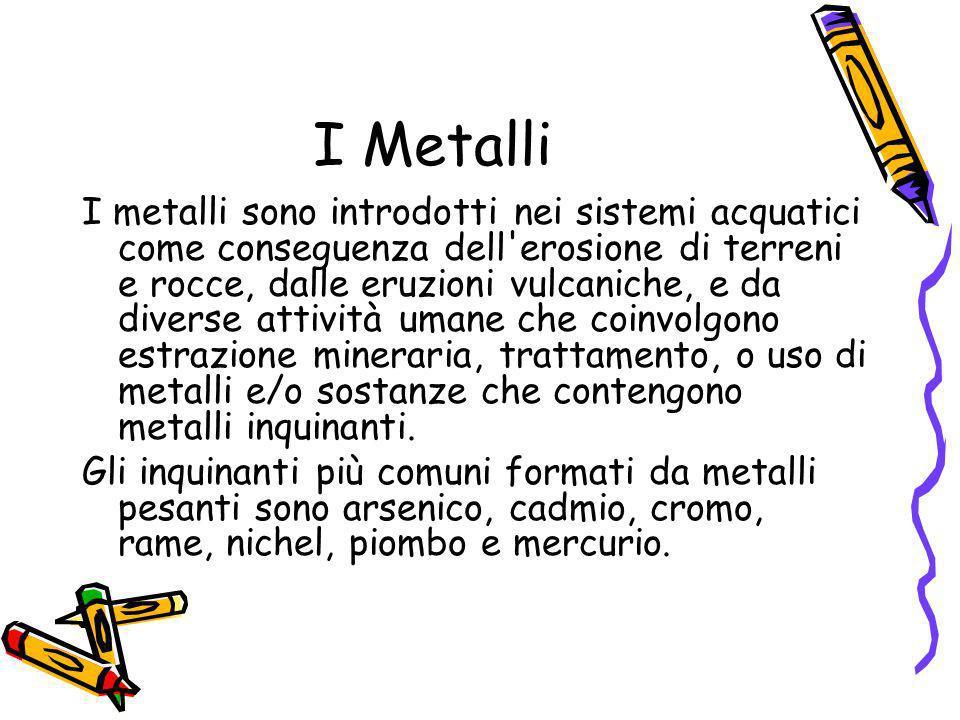 I Metalli I metalli sono introdotti nei sistemi acquatici come conseguenza dell'erosione di terreni e rocce, dalle eruzioni vulcaniche, e da diverse a