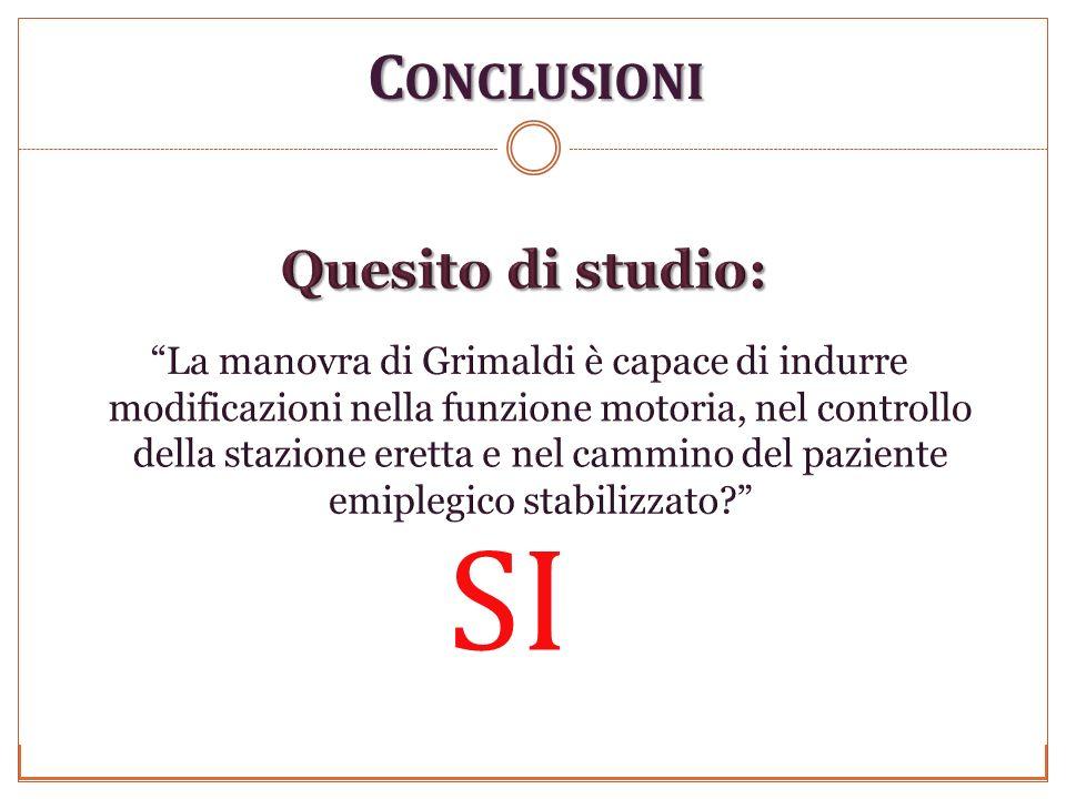 C ONCLUSIONI Foligno 29/11/2010 Università degli studi di Perugia Anno Accademico 2009-2010 SI