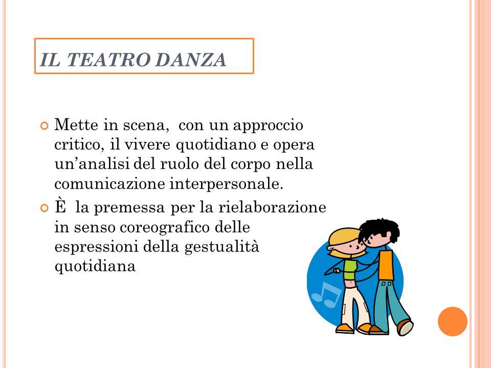 IL TEATRO DANZA Mette in scena, con un approccio critico, il vivere quotidiano e opera unanalisi del ruolo del corpo nella comunicazione interpersonale.
