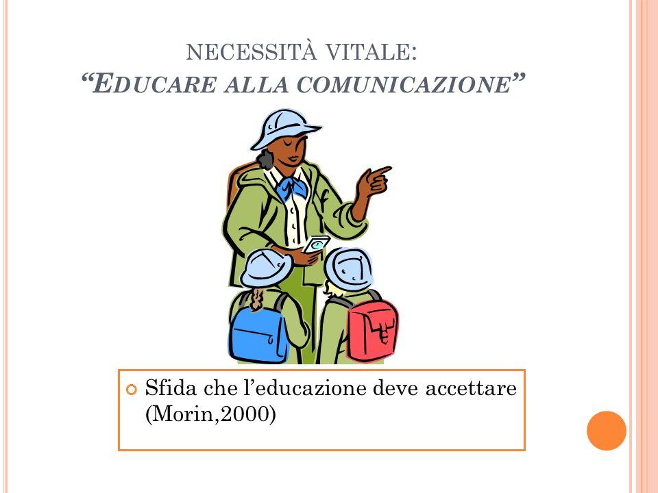 NECESSITÀ VITALE : E DUCARE ALLA COMUNICAZIONE Sfida che leducazione deve accettare (Morin,2000)