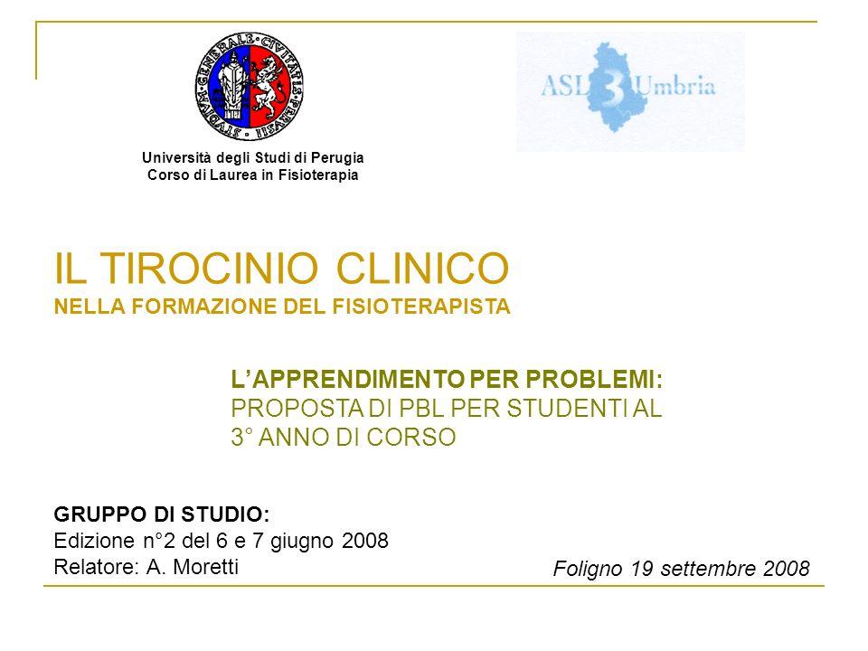 Università degli Studi di Perugia Corso di Laurea in Fisioterapia IL TIROCINIO CLINICO NELLA FORMAZIONE DEL FISIOTERAPISTA Foligno 19 settembre 2008 L